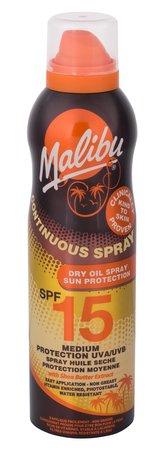 Malibu Continuous Spray Opalovací přípravek na tělo Dry Oil 175 ml SPF15 pro ženy