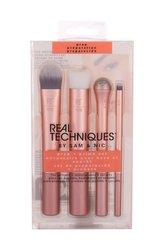 Real Techniques Brushes kosmetický štětec na podkladovou bázi 1 ks + exfoliační štětec 1 ks + chladivý roll-on pro oční okolí 1 ks + exfoliační štětec na rty 1 ks